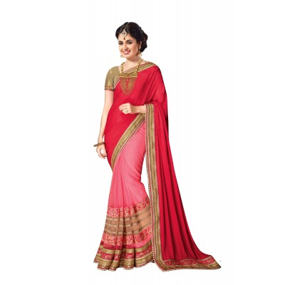 Ugrowth Collection Red Chinnan Silk & Georgette Embroidered Designer Saree