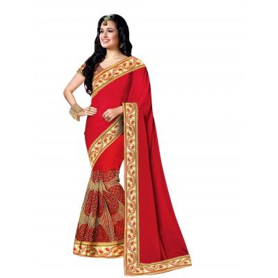 Ugrowth Collection Red Chinnan Silk & Georgette Embroidered Designer Saree