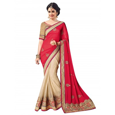 Ugrowth Collection Red Georgette & Lycra Embroidered Designer Saree