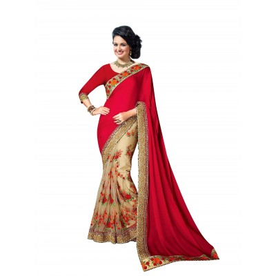Ugrowth Collection Red Silk Georgette & Nylon Net Embroidered Designer Saree
