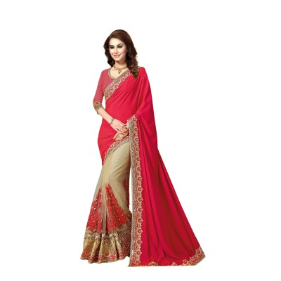 Ugrowth Collection Red Silk Georgette & Nylon Net Embroidered Designer Saree