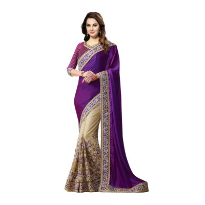 Ugrowth Collection Purple Silk Georgette & Nylon Net Embroidered Designer Saree