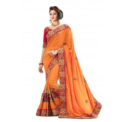 Ugrowth Collection Orange Georgette Embroidered Designer Saree