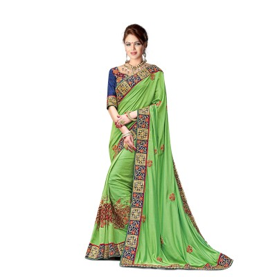 Ugrowth Collection Green Georgette Silk Embroidered Designer Saree