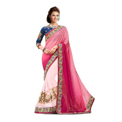 Ugrowth Collection Pink Nylon Silk & Georgette Embroidered Designer Saree