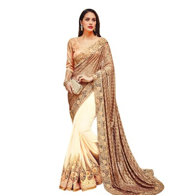 Ugrowth Collection Beige Russell & Georgette Embroidered Designer Saree