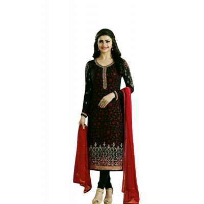 Ugrowth Collection Black Georgette Embroidered Un-Stitched Dress Material
