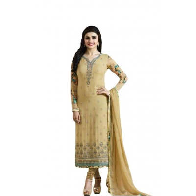 Ugrowth Collection Mustard Georgette Embroidered Un-Stitched Dress Material