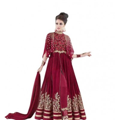 Ugrowth Collection Maroon Georgette Embroidered Un-Stitched Dress Material