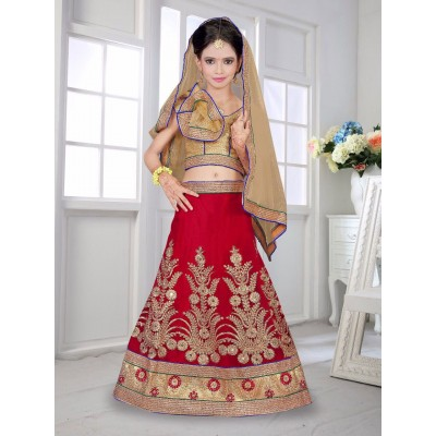 Ugrowth Collection Red Net Embroidered Stitched Lehenga Choli