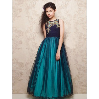 Ugrowth Collection Turquoise Net Hand Worked Gown