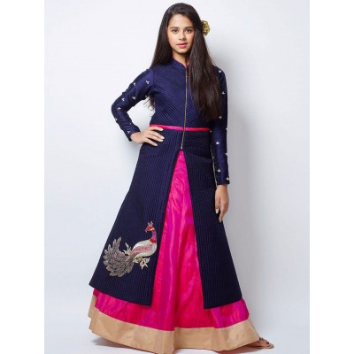 Ugrowth Collection Navy Blue Banglori Silk Hand Worked Gown