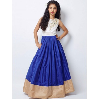 Ugrowth Collection Blue Taffeta Silk Hand Worked Gown