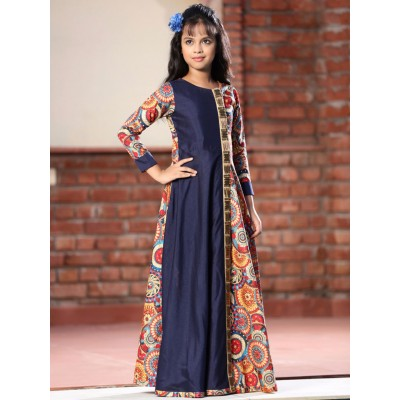 Ugrowth Collection Navy Blue Silk Digital printed Gown