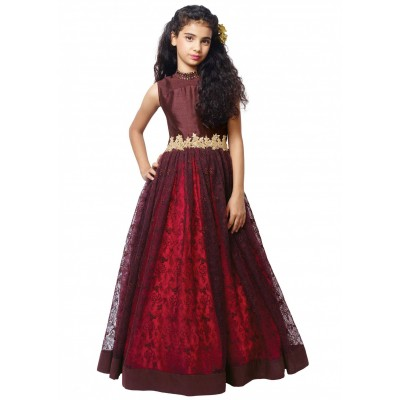 Ugrowth Collection Maroon Rasal Net Hand Worked Gown
