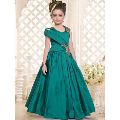 Ugrowth Collection Green Taffeta Silk Hand Worked Gown