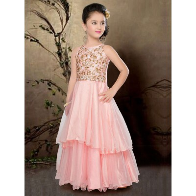 Ugrowth Collection Peach Net Stone Worked Gown