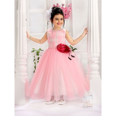Ugrowth Collection Pink Net Designer Brooch Gown
