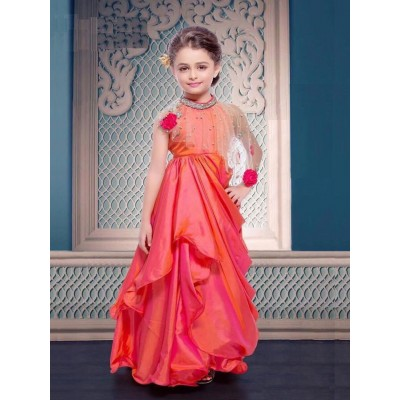 Ugrowth Collection Orange Two Tone Silk Stone Worked Gown