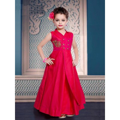 Ugrowth Collection Pink Art Silk Hand Worked Gown