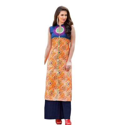 AARJIKA Orange Cotton Printed Straight Kurta