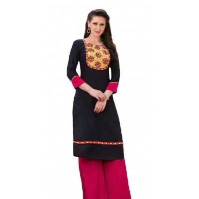 AARJIKA Black Cotton Printed Straight Kurta