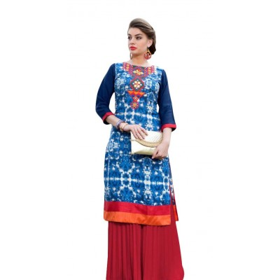 AARJIKA Blue Cotton Printed Straight Kurta