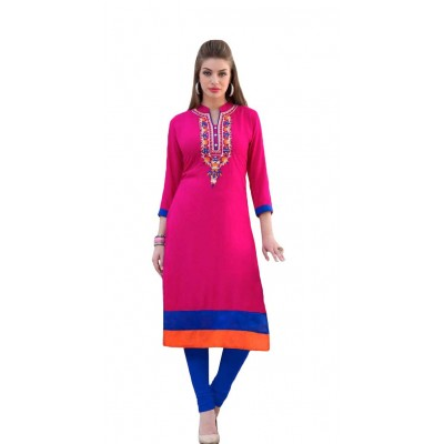 AARJIKA Pink Cotton Printed Straight Kurta