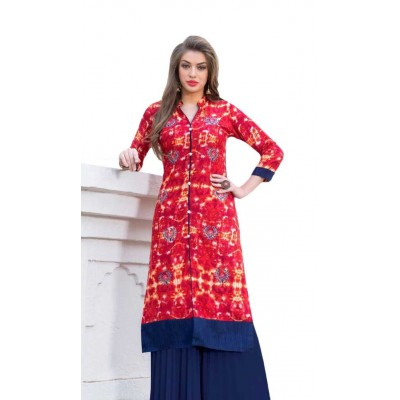 AARJIKA Red Cotton Printed Straight Kurta