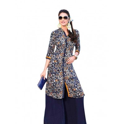 AARJIKA Navy Blue Cotton Printed Straight Kurta