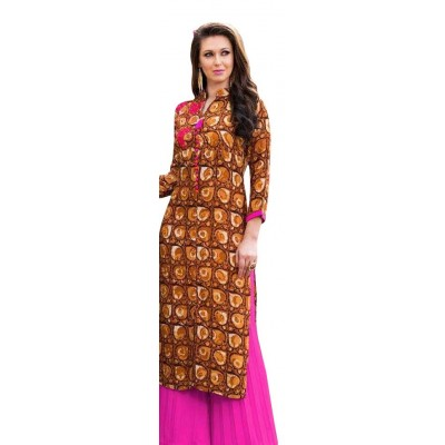AARJIKA Brown Cotton Printed Straight Kurta