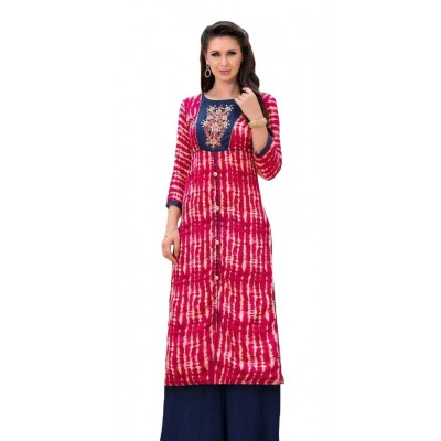 AARJIKA Maroon Cotton Printed Straight Kurta
