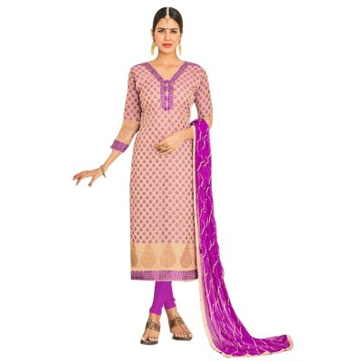 AARJIKA Beige Chanderi Un-Stitched Dress Material