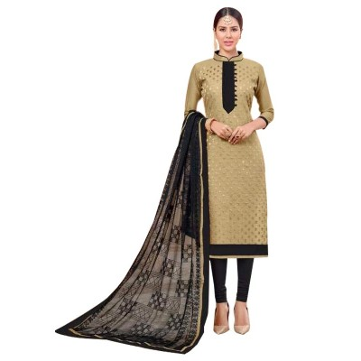 AARJIKA Beige Cotton Banarasi Jacquard Un-Stitched Dress Material