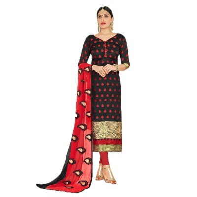AARJIKA Black Chanderi Un-Stitched Dress Material