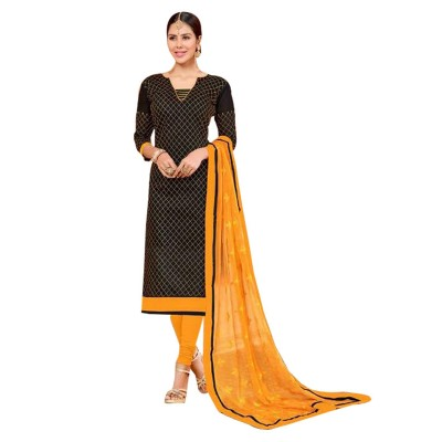 AARJIKA Black Cotton Banarasi Jacquard Un-Stitched Dress Material