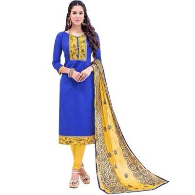 AARJIKA Blue Cotton Banarasi Jacquard Un-Stitched Dress Material