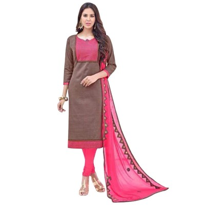 AARJIKA Brown Cotton Banarasi Jacquard Un-Stitched Dress Material