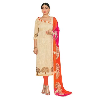 AARJIKA Cream Chanderi Un-Stitched Dress Material