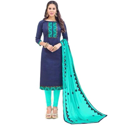 AARJIKA Navy Blue Cotton Banarasi Jacquard Un-Stitched Dress Material