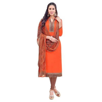 AARJIKA Orange Cotton Banarasi Jacquard Un-Stitched Dress Material