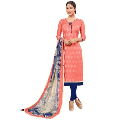 AARJIKA Peach Cotton Banarasi Jacquard Un-Stitched Dress Material