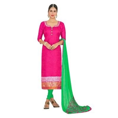 AARJIKA Pink Chanderi Un-Stitched Dress Material