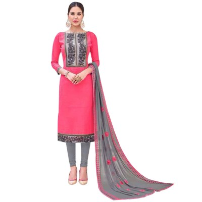 AARJIKA Pink Cotton Banarasi Jacquard Un-Stitched Dress Material