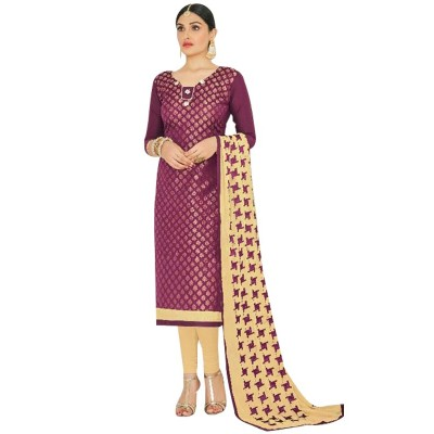 AARJIKA Purple Chanderi Un-Stitched Dress Material