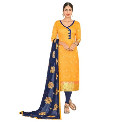 AARJIKA Yellow Chanderi Un-Stitched Dress Material