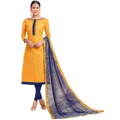 AARJIKA Yellow Cotton Banarasi Jacquard Un-Stitched Dress Material