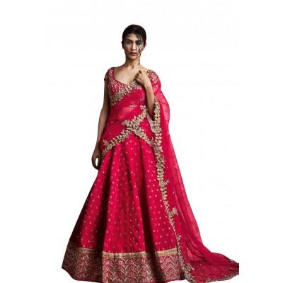 NAINA Maroon Charlee Silk Embroidered Semi-Stitched Lehenga Choli