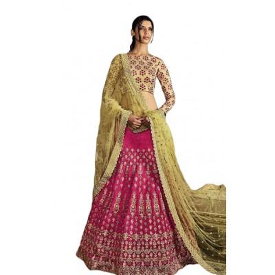 NAINA Pink Banglori Silk Embroidered Semi-Stitched Lehenga Choli