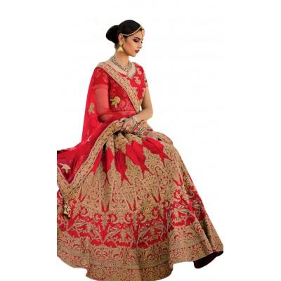 NAINA Red Mastani Silk Embroidered Semi-Stitched Lehenga Choli